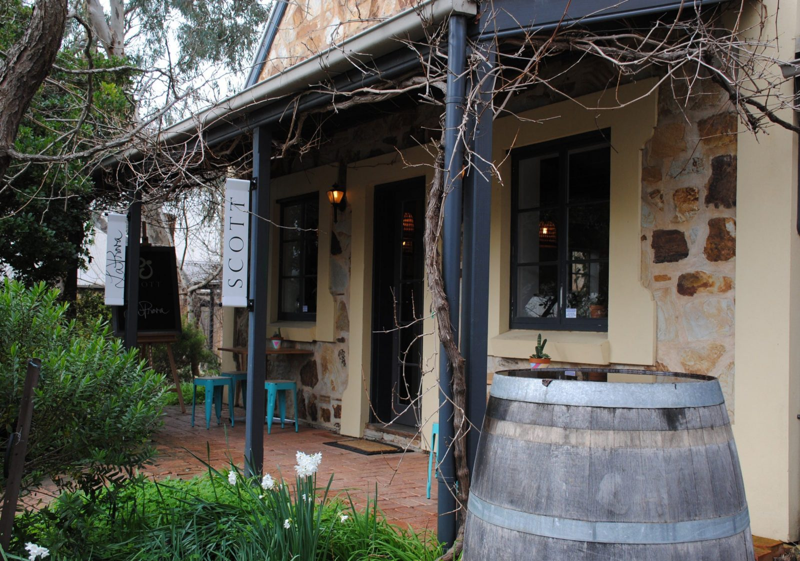 The cellar door is situated behind Landhaus and has parking.