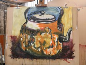 Let-Loose painting with tea pot as a starting point