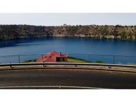 Looking out across the pump house over Mount Gambier's famous Blue Lake