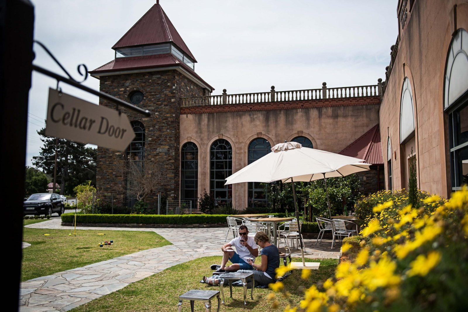 Enjoy a glass of wine on the beautiful lawns of Lou Miranda Estate