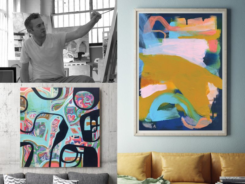 Artist Nicholas Girling with abstract paintings