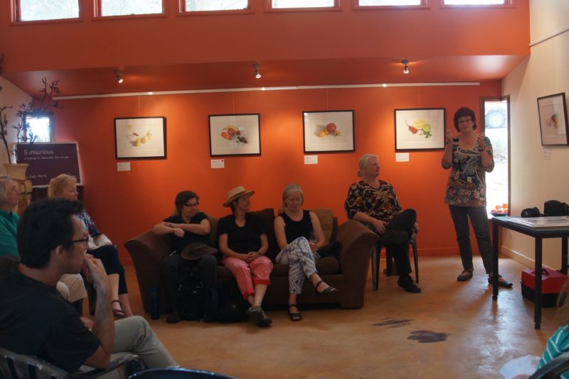 """South Australian Artist Judy Morris gives a talk during her show """"Sensurious"""""""