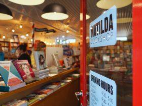 A peek through the doorway into Stirling SA's Matilda Bookshop.