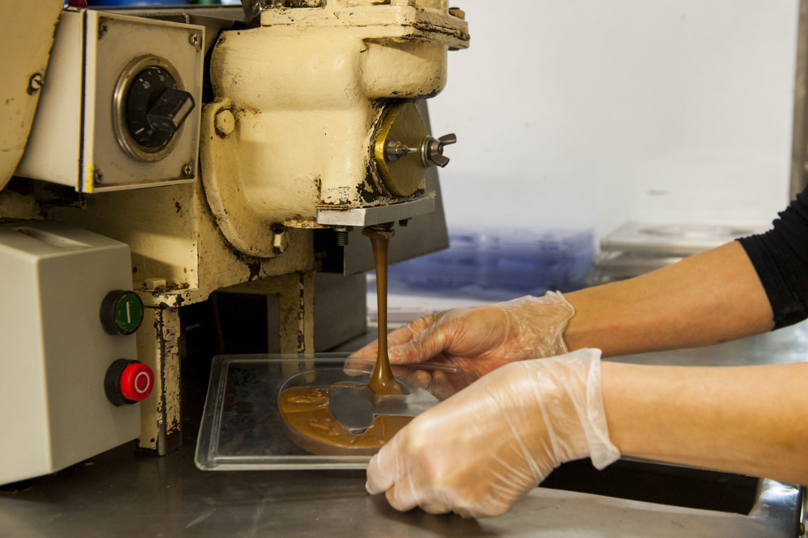 Watch our chocolates being made in the Depositing Room on sight at our Woodside factory