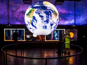 Interactive globe display, Universal Gallery, SEVEN SIBLINGS FROM THE FUTURE exhibition, MOD.