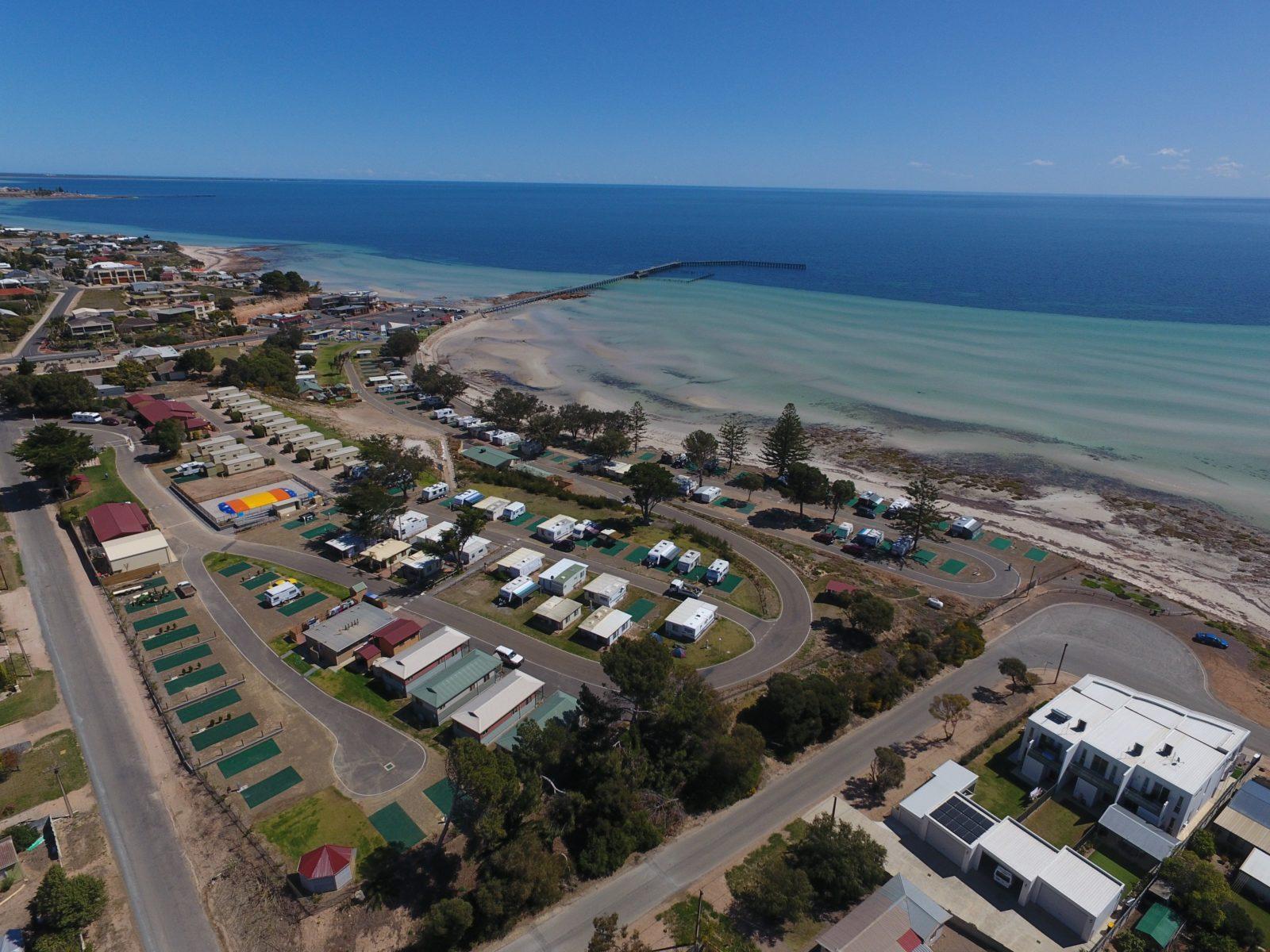 Moonta Bay Caravan Park from Above