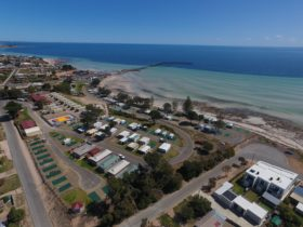 Moonta Bay Caravan Park from Above