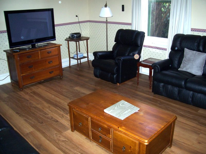 Living room with TV/DVD and wood heater