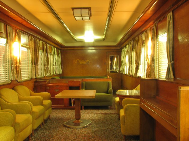 The lounge carriage was imported from Germany in 1951 and was used on the Ghan and Trans Express.