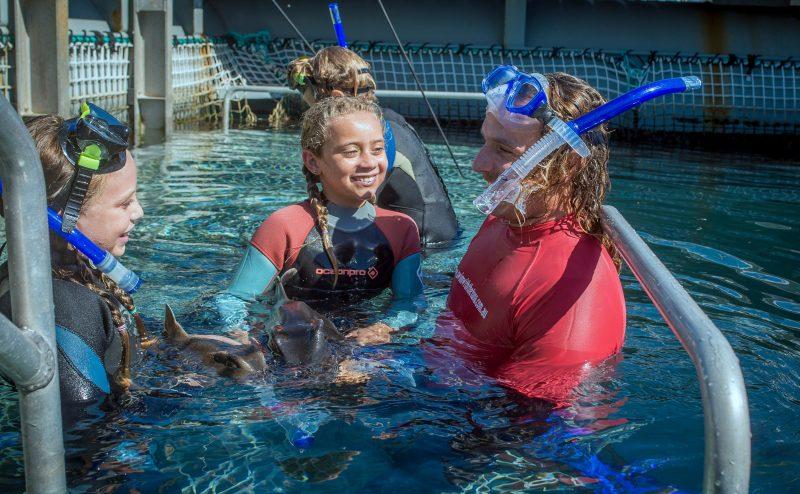Dr. Fernando showing children our baby Port Jackson sharks