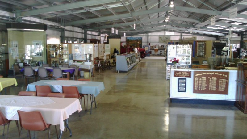 This showing the interior of the Charles Chaffey Centre showing displays and seated rest area.