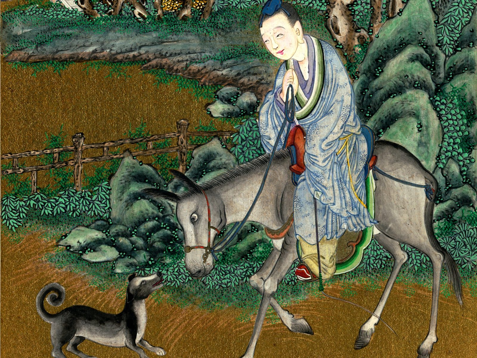 Chinese man on a donkey, with a dog. Coloured drawing 1851-1908.