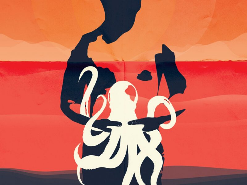 A cartoon of a man holding an octopus with a sun setting over the ocean in the background