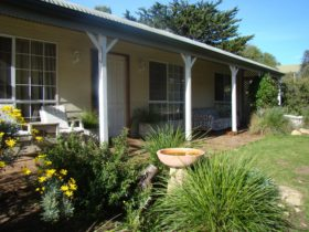 Front aspect of cottage. Sunny front verandha in the afternoons.