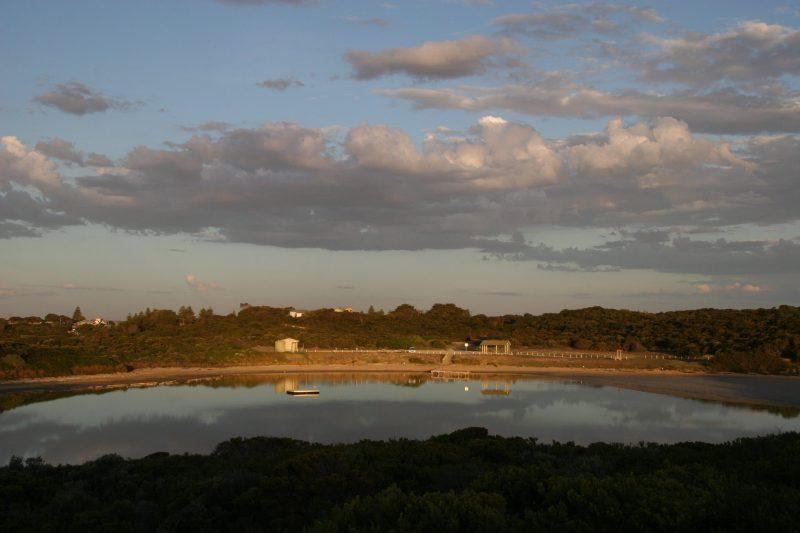 salt lake at dusk