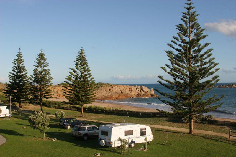 Caravan sites on Horseshe Bay at Port Elliot Holiday Park