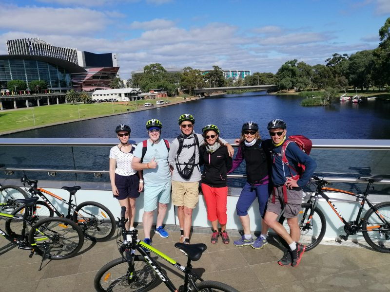 Bike Tour in Adelaide on the River Torrens bridge to Adelaide Oval