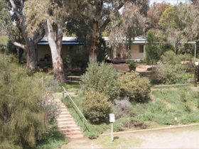 View through Red Gum trees to two-bedroom cabins from lower level.