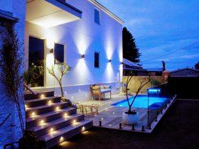 pool and steps shot dusk