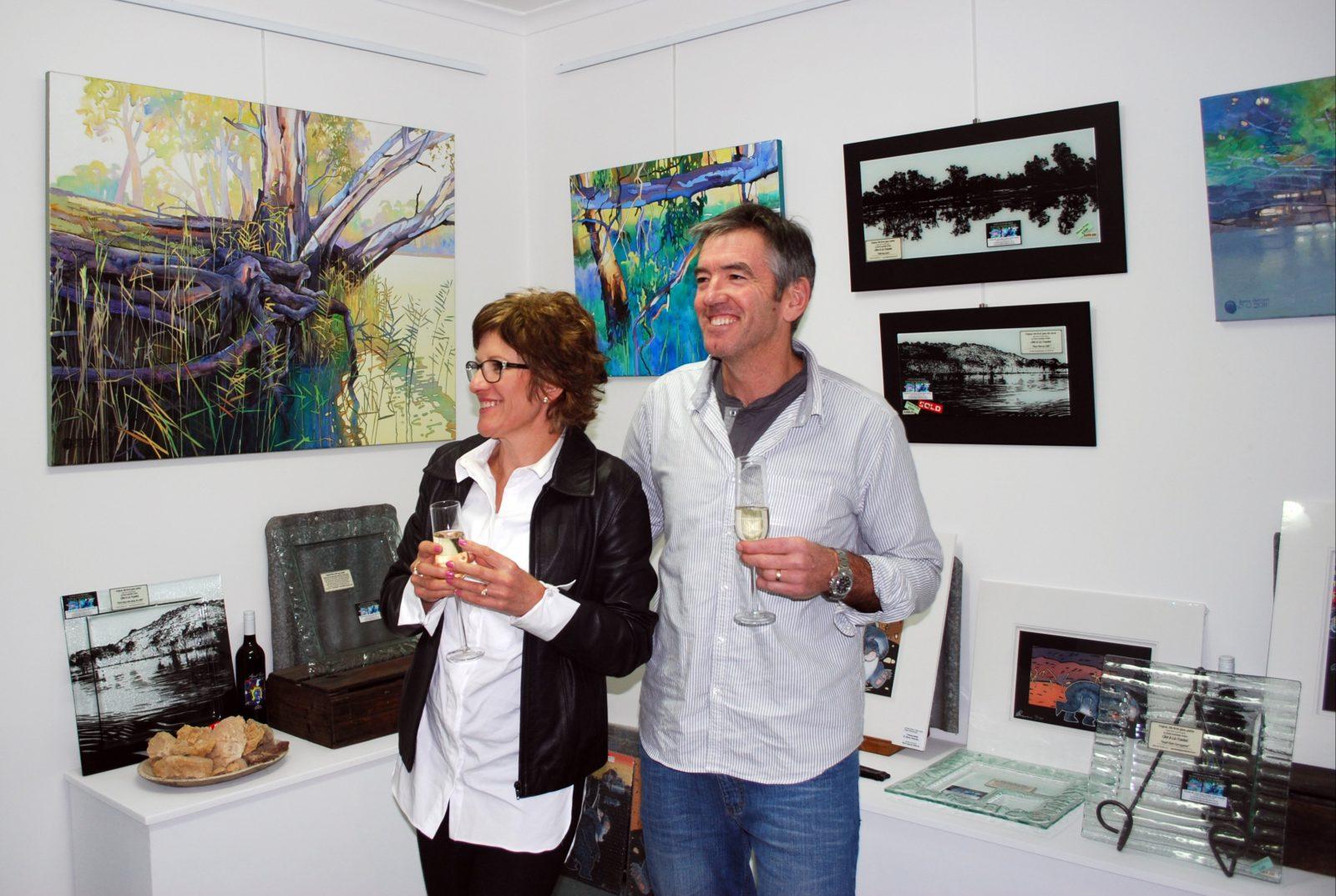 enjoying artwork in Riverglen View Art Studio & Gallery