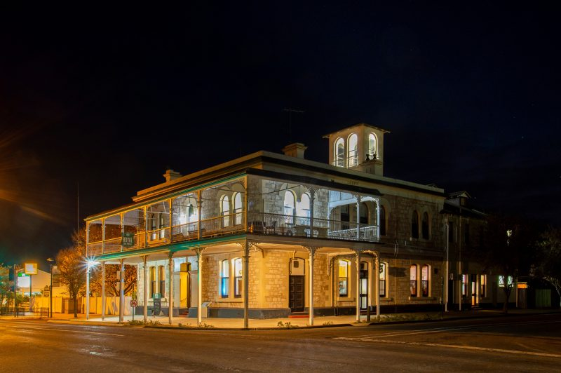 Outside view of the 2 story building taken at night