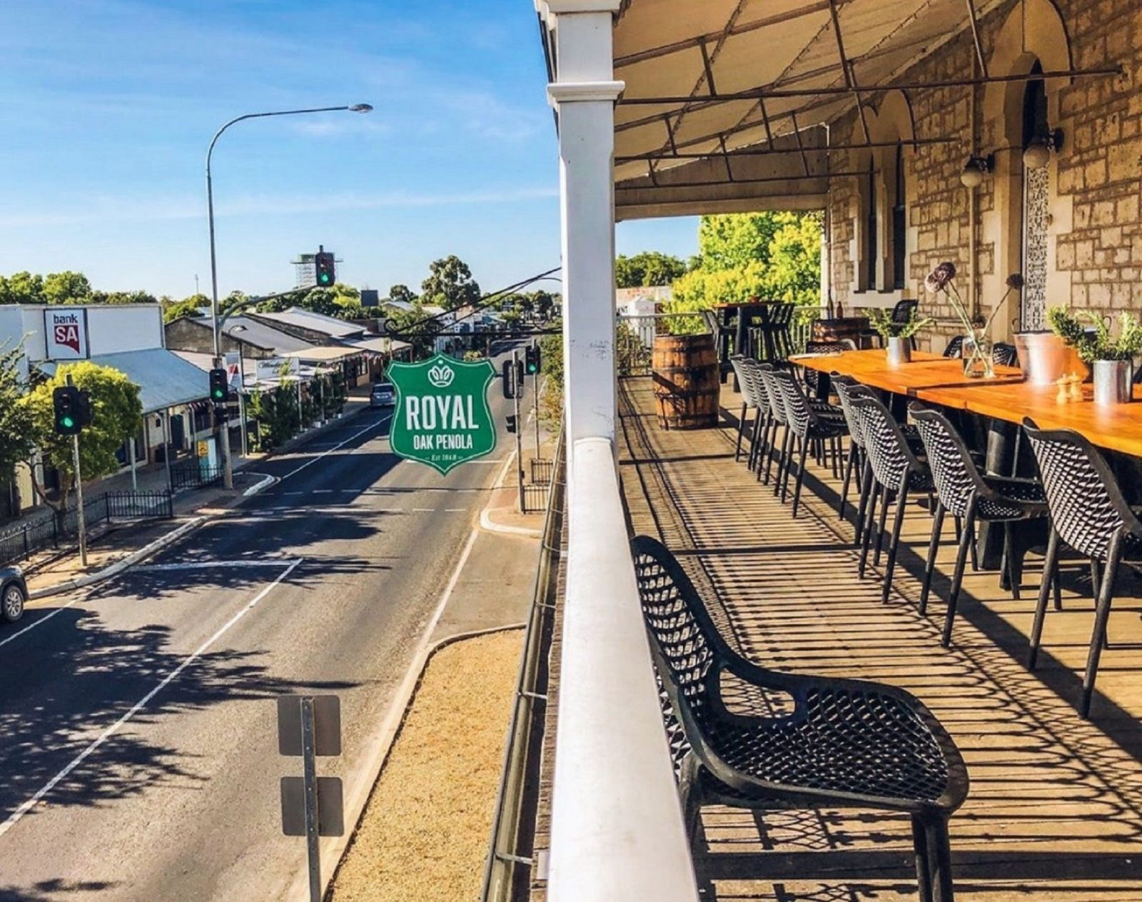 Dining table set for a group of 20 people overlooking the township and mainstreet of Penola