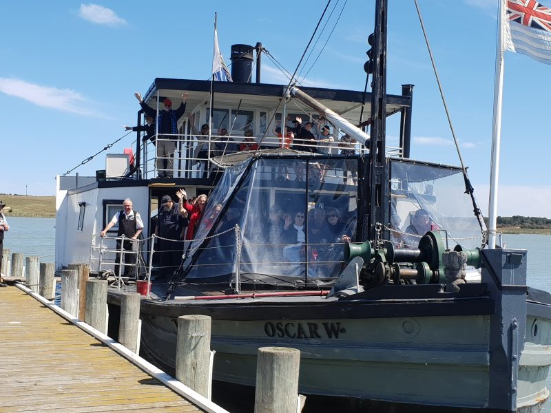 the paddle steamer Oscar W offers public and private lunch cruises to Sails Cafe at Clayton Bay