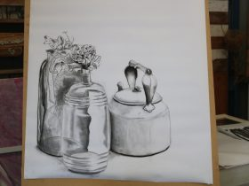 drawing of glass bottle & kettle in charcoal