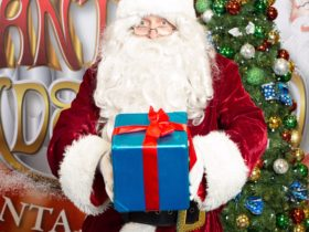 Santa with blue gift