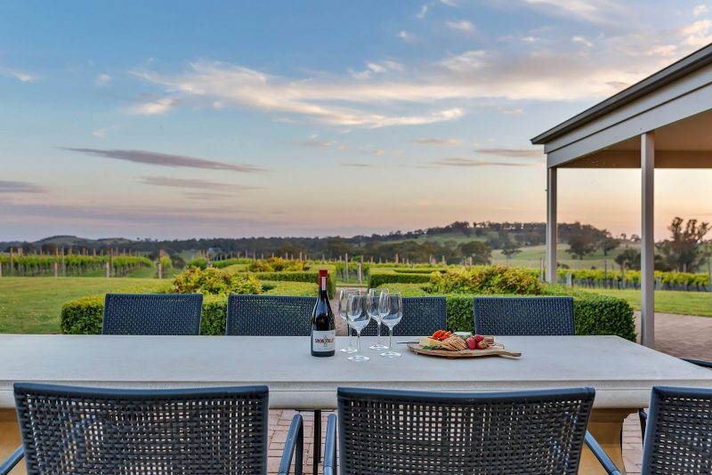Views over the vineyard from Simon Tolley Lodge's outdoor dining area