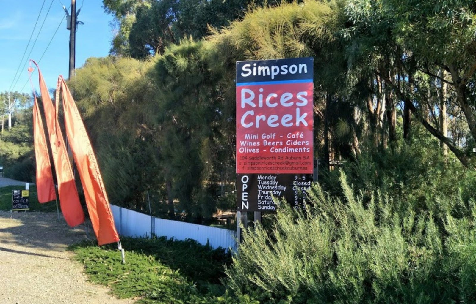 Front of Simpson Rices Creek Licensed Cafe, Mini Golf Auburn Clare Valley South Australia