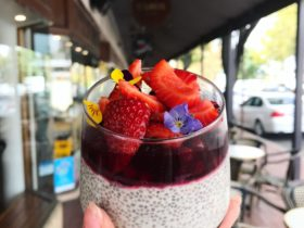 Chia Seed Pudding served with raspberry coulis and garnished with fresh strawberries.