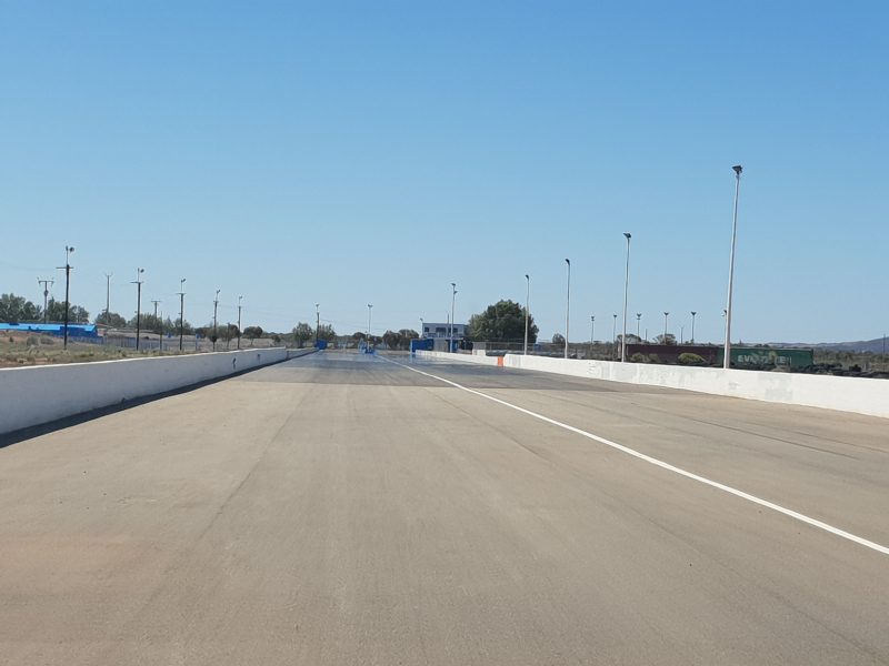 View from the bottom of the drag strip