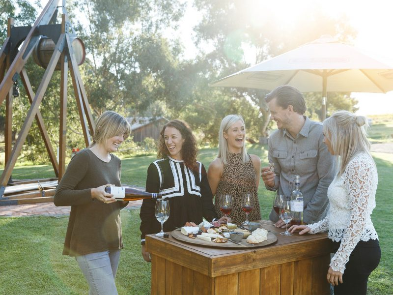 A group of friends enjoy a platter and a glass of wine on the lawns at Wirra Wirra