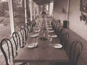 Enjoy lunch for 20 on this lovely handcrafted table overlooking gardens and vineyards