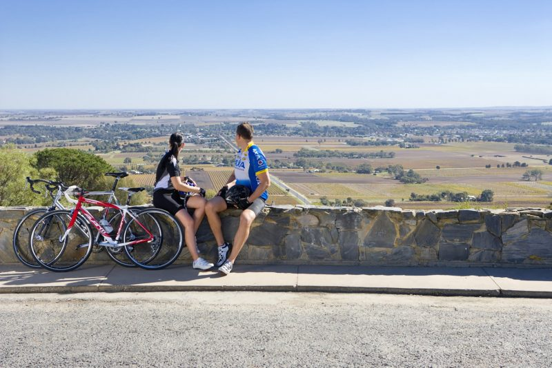 Cyclists enjoy the view from Mengler's Hill, Barossa