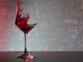 Wine glass in front chemistry formula