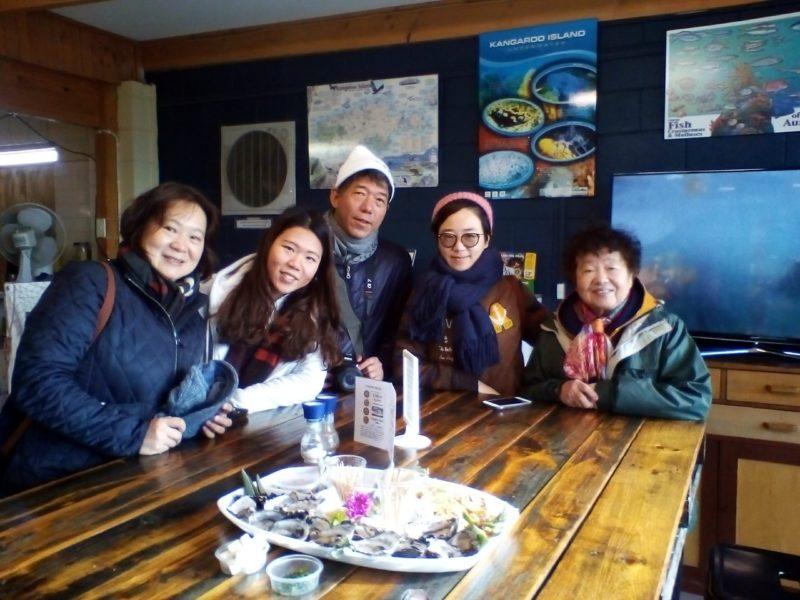 Visitors enjoying a farm hop Aquaplatter