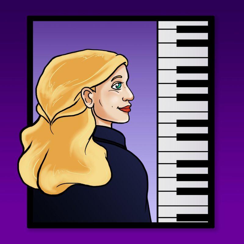Cartoon Female with Piano