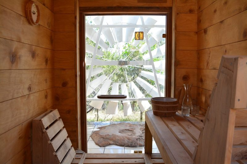 The humble little sauna steam therapy room is our Winter Season feature and a real bush treat!