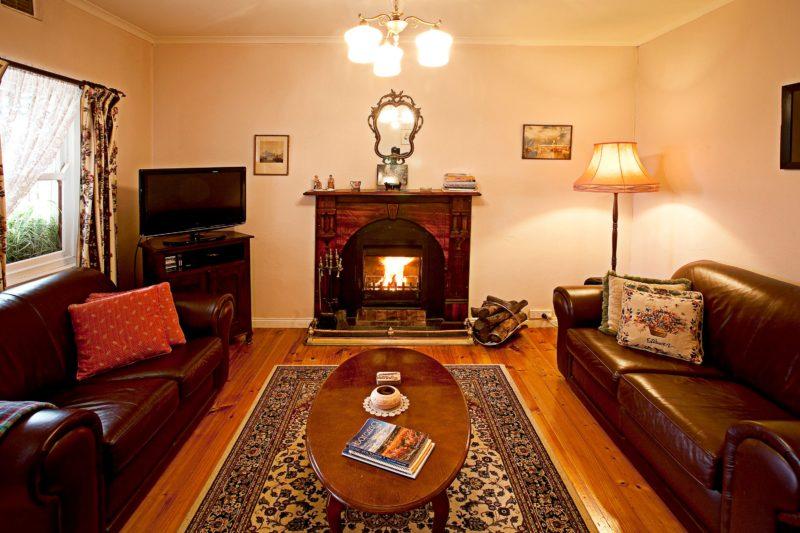open fire in lounge