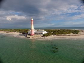 Drone photo of Lighthouse and cottage on Troubridge Island off Edithburgh