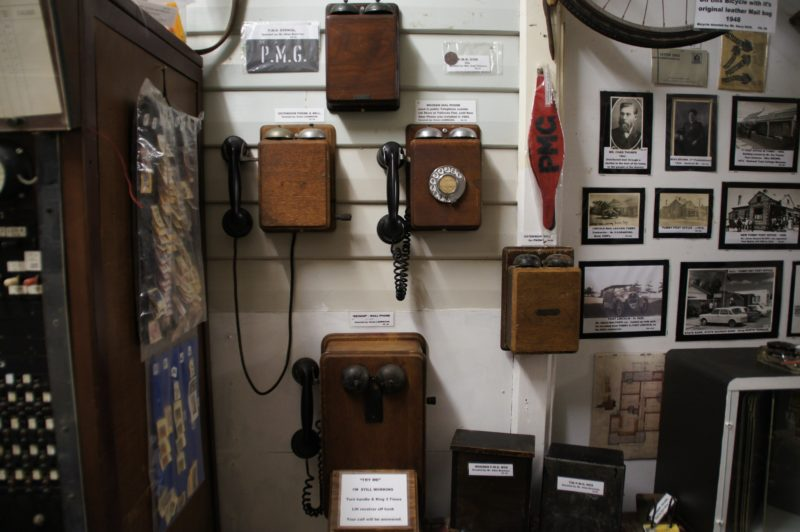 Tumby Bay Museum wall telephone collection.
