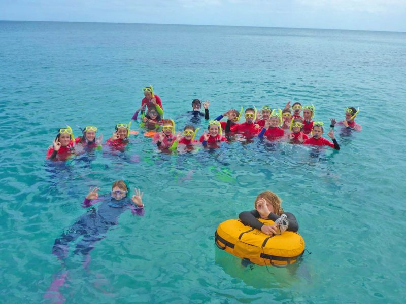 A large group of kids and instructors smile and wave in snorkels
