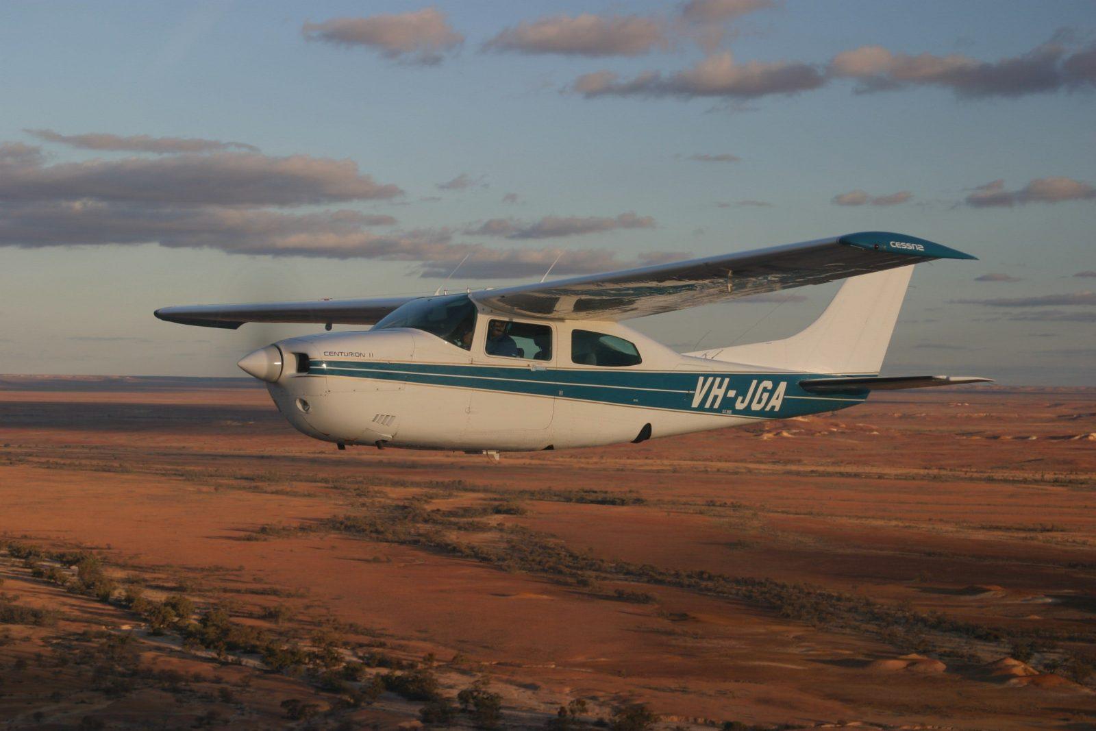 Flight over the desert