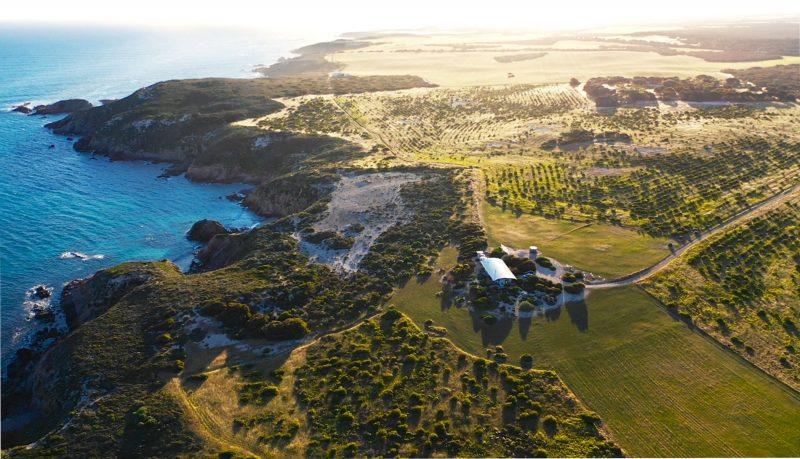 Aerial view of Yondah Beach House on beautiful Yorke Peninsula in South Australia