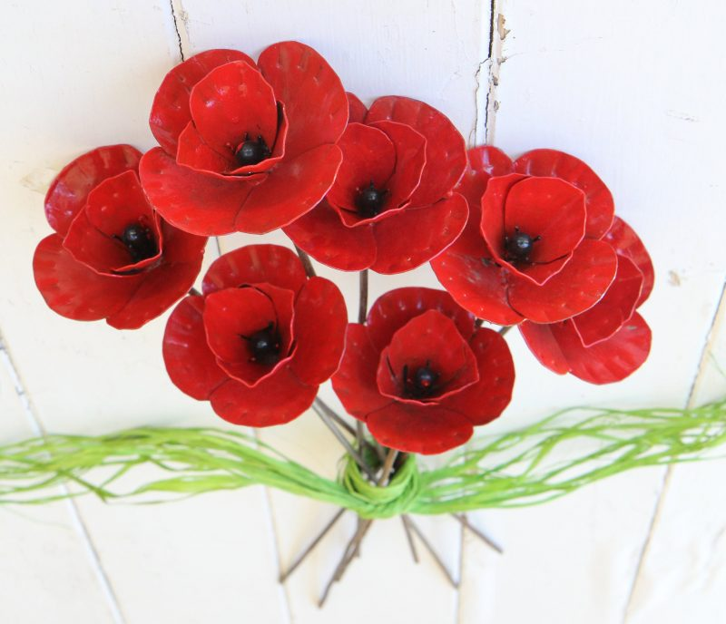Recycled metal poppies from Zimbabwe