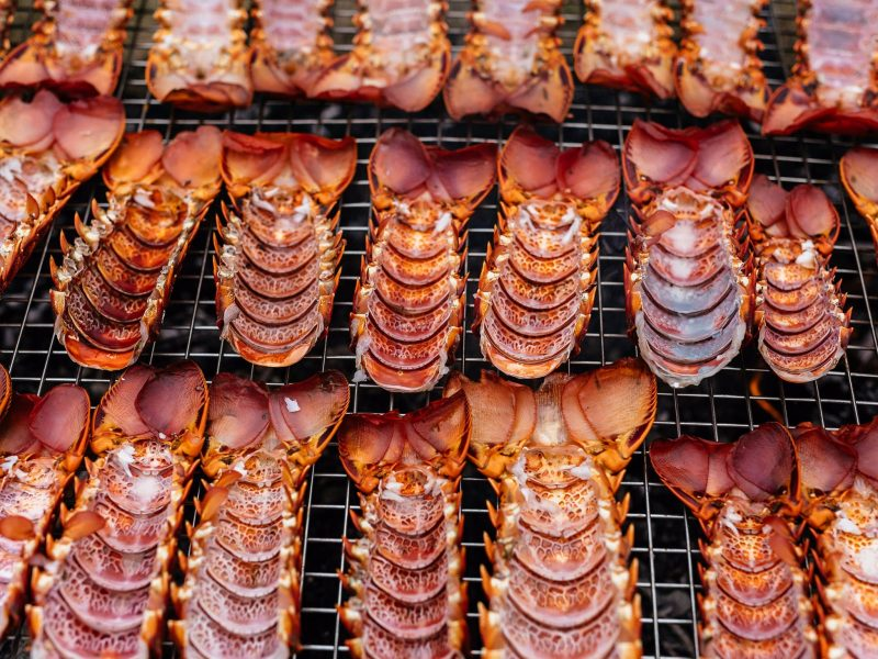 Rows of barbecued crayfish