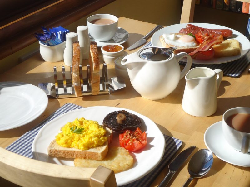 Full cooked breakfast. We cater for meat eaters, vegetarian & vegan guests