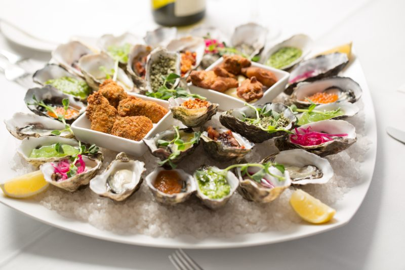 Oysters in the restaurant